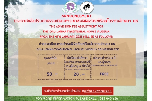 The admission fee adjustment for the CMU Lanna Traditional House Museum from the 4th January 2021