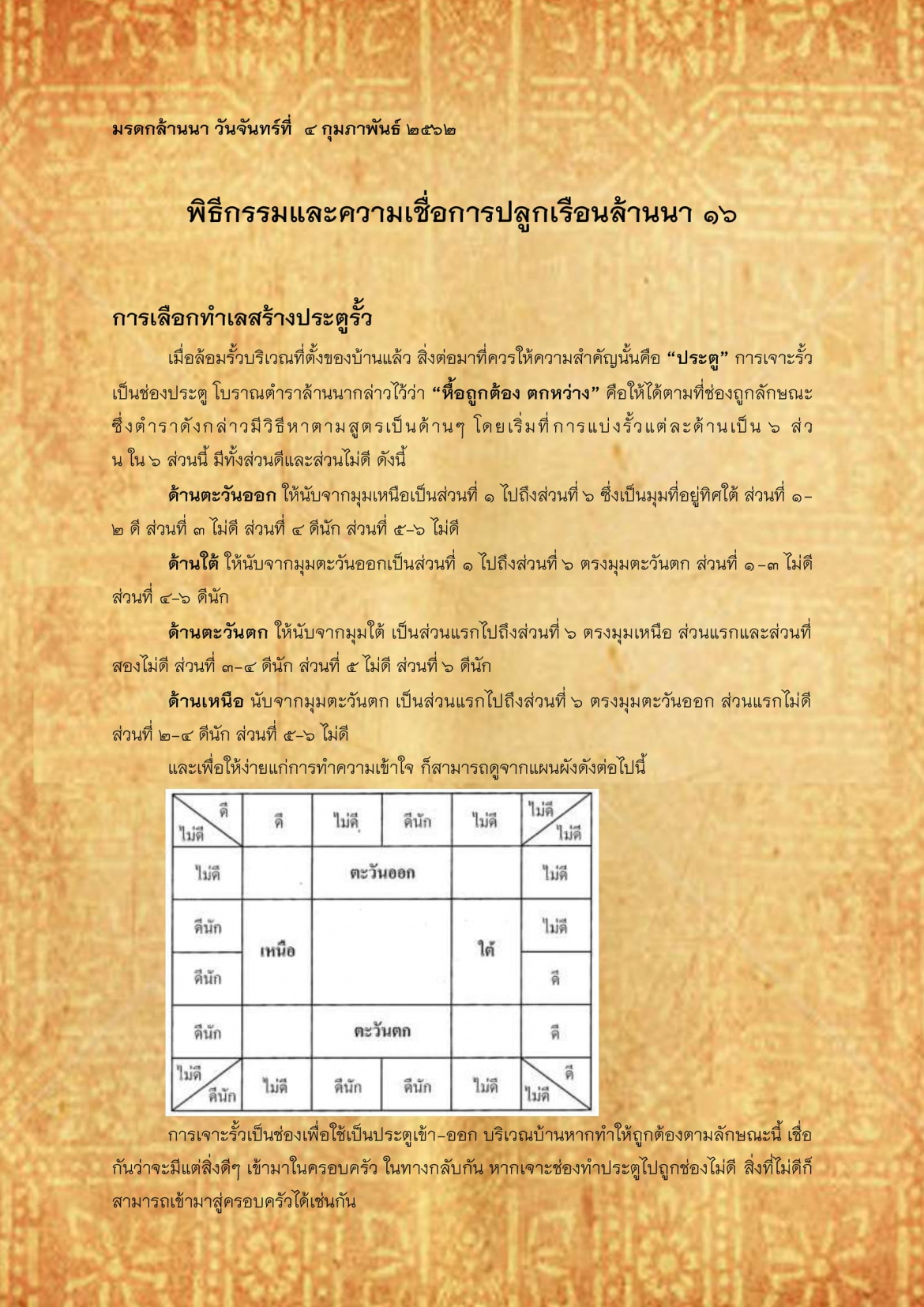 พิธีกรรมเเละความเชื่อการปลูกเรือนล้านนา(16) - 4 กุมภาพันธ์ 2562