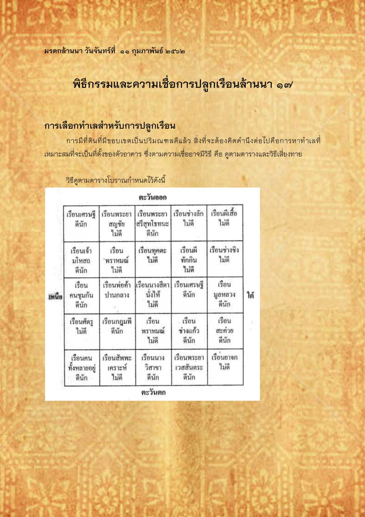 พิธีกรรมเเละความเชื่อการปลูกเรือนล้านนา(17) - 11 กุมภาพันธ์ 2562