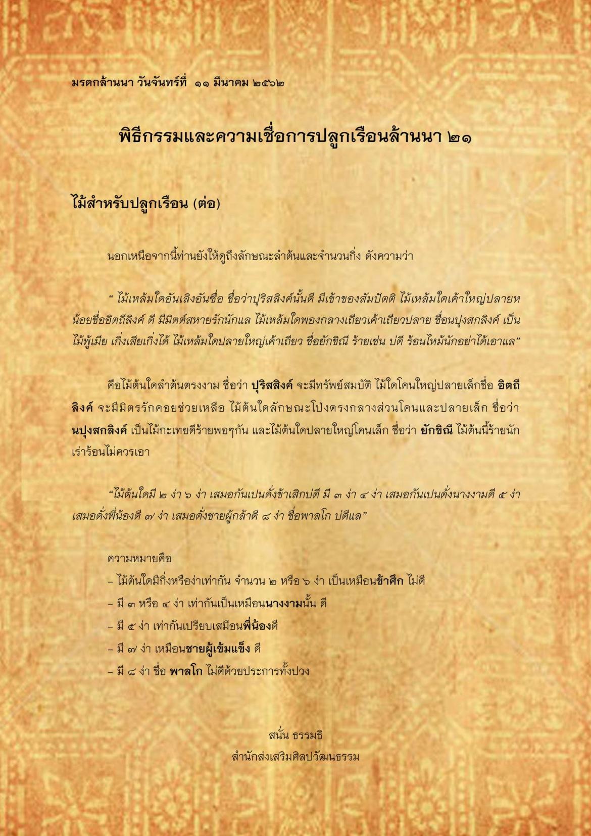 พิธีกรรมเเละความเชื่อการปลูกเรือนล้านนา(21) - 11 มีนาคม 2562