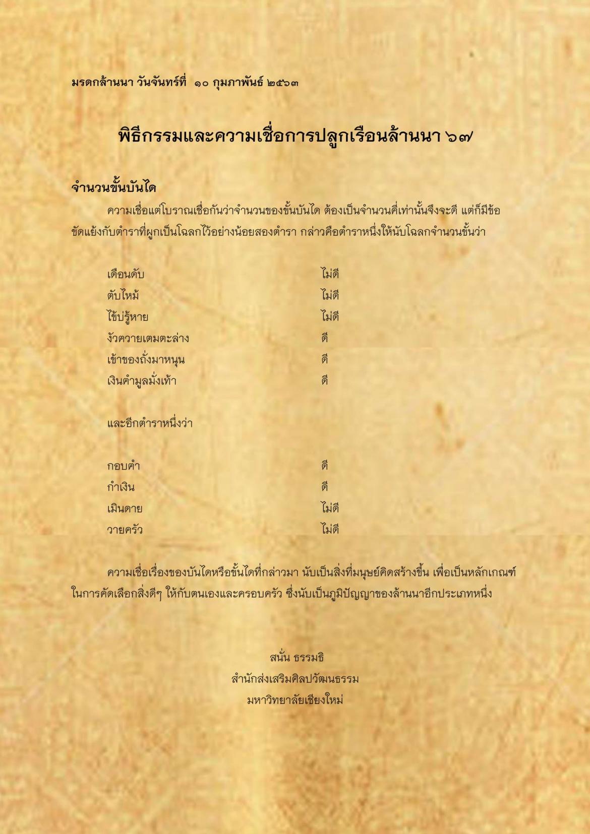 พิธีกรรมเเละความเชื่อการปลูกเรือนล้านนา(67) - 10 กุมภาพันธ์ 2563