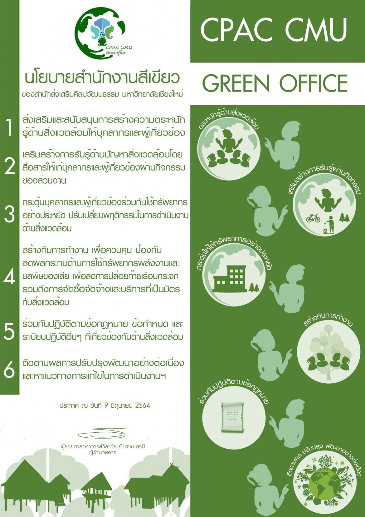 ประกาศนโยบายการจัดการสำนักงานสีเขียว ของสำนักส่งเสริมศิลปวัฒนธรรม มหาวิทยาลัยเชียงใหม่